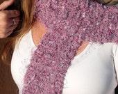 Mottled Lavender Fuzzy Knit Scarf