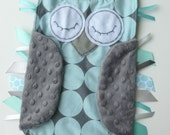 CUSTOM ORDER Sea Blue and Gray Disco Dot OWL Ribbon Tag Baby Blankie in Michael Miller Fabric with Gray Minky Blanket Lovey Lovie Baby Gift
