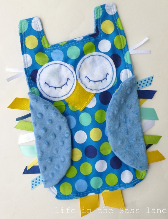 Mod Polka Dots OWL Ribbon Tag Baby Blanket in Blue, Green, Yellow and White with Blue Minky Blankie Lovey Lovie Baby Gift