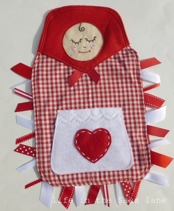 MATRYOSHKA Doll Little Red Riding Hood Ribbon Tag Baby Blanket in Red and White Gingham and Minky Blankie Lovey Lovie Baby Gift