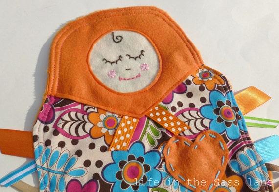 MATRYOSHKA Ribbon Tag Minky Baby Blanket in Orange, Blue, Green, Pink and Brown Floral Blankie Lovey Lovie Baby Gift