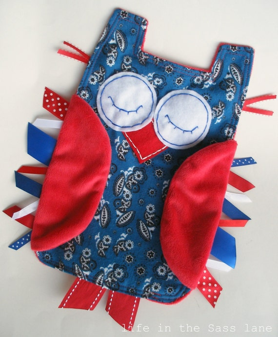 Blue and Red Bandana OWL Ribbon Tag Baby Blanket with Minky Flannel Blankie Lovey Lovie Baby Gift