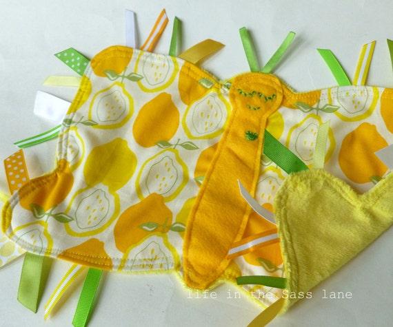 Butterfly Ribbon Tag Blankie in Alexander Henry Juicy Lemons Print Yellow Green White Minky Blanket Lovey Lovie Baby Gift