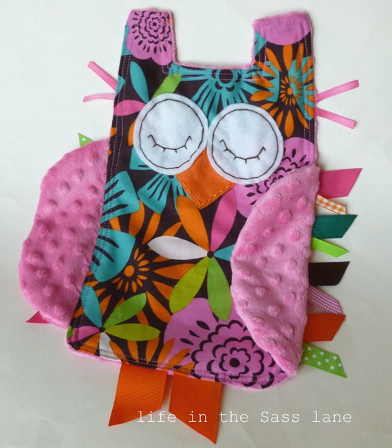 RESERVED Woodland OWL Floral Baby Blanket with Pink Minky Blankie Lovey Lovie Baby Gift