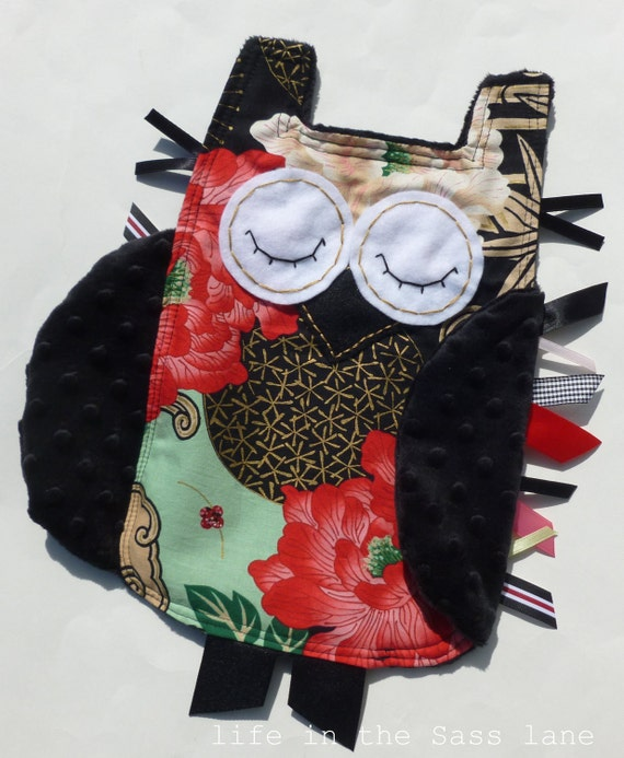RESERVED Chinoiserie OWL Ribbon Tag Baby Blanket Alexander Henry Lady Yang Fabric with Black Minky Blankie Lovey Lovie Baby Gift