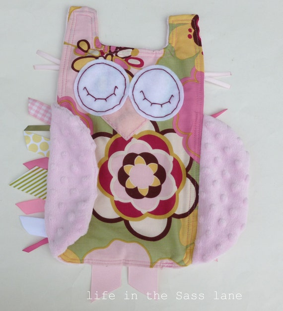 Pink Kleo OWL Baby Blanket Alexander Henry Fabric and Minky Ribbon Tag Blankie Lovey Lovie Baby Gift