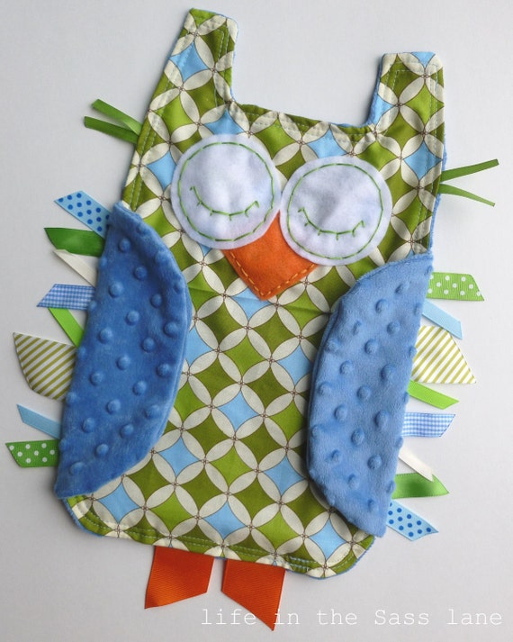 Blue and Green Geometric OWL Ribbon Tag Minky Baby Blanket Blankie Lovey Lovie Baby Gift