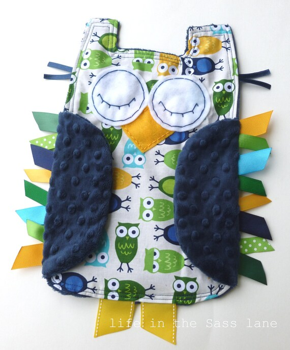 Urban Zoologie Owls Ribbon Tag Baby Blanket and Navy Blue Minky Blankie Lovey Lovie Baby Gift Yellow, Green, Blue, Turquoise