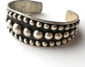 Sterling Silver Signed Taxco Mexico Raised Ball Bracelet