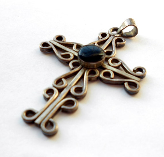 Vintage Sterling Silver & Onyx Mexican Cross