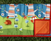 Foxie Cot Quilt Comforter Blanket Play Mat Birds & Fox Blue and Orange by SassyBabyQuilts