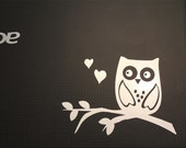 Metallic Decal- sticker  Owl in a branch Laptop -Metallic Silver- Notebook - Macbook- Computer -mailbox