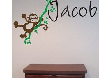 Cute MONKEY in the jungle  Personalized Initial Name Vinyl Wall Decal perfect decoration for nursery or playroom