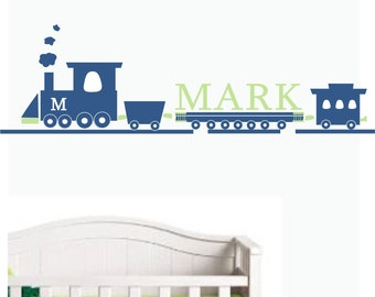 Wall Decal TRAIN Monogram EXTRA LARGE 4 Feet Wide custom colors-nursery decor