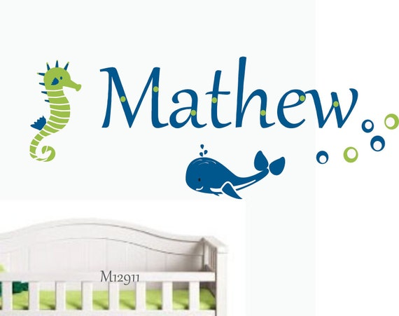 Kids Wall Decal -  Nautical Wall Decal - Personalized Beach Wall sticker - Vinyl Wall decal for nursery or playroom