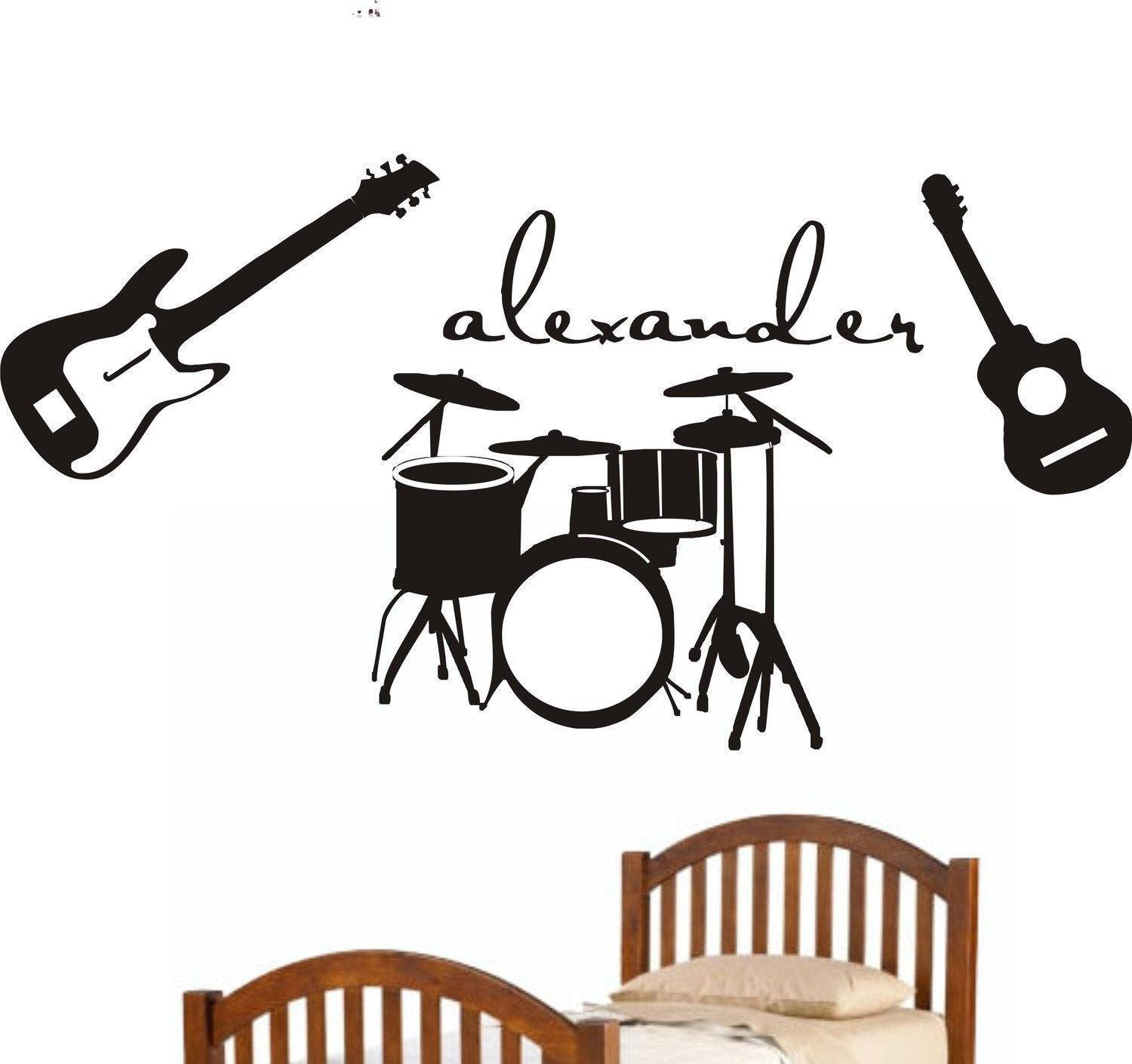 Music guitars drums theme personalized initial name vinyl wall for Vinilos decorativos instrumentos musicales