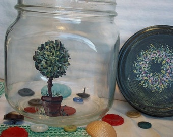 Glass Storage Jar-Large Hand Painted Container-Shabby Kitchen Cannister Storage-1960's Upcycled Glass Jar-Country Farmhouse Style Container