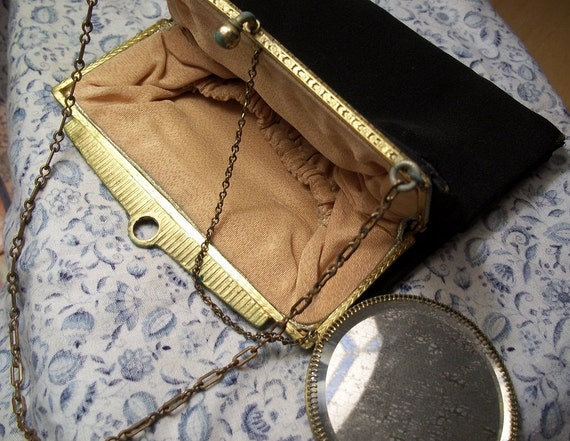 Antique Black Purse with Chain handle attached mirror