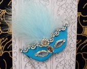 Masquerade Turquoise Mask Personalized Card / DL Size / Handmade Greeting Card