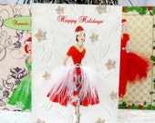 Christmas Card Collection / C6 Size / Set of 3 Vintage Printed Fashion / Handmade Greeting Cards