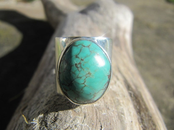 Big Turquoise and Sterling Silver Ring
