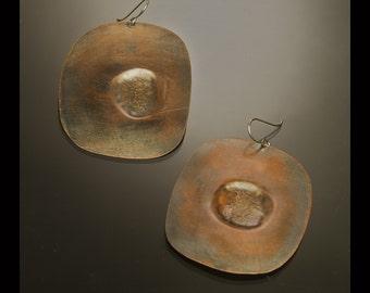 Organic copper earrings