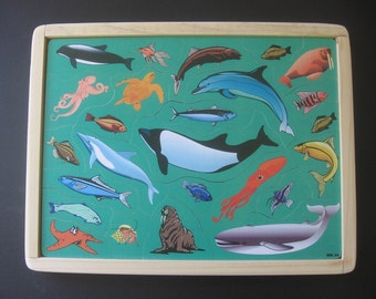 SEA LIFE - Childrens Wooden Jigsaw Tray Puzzle