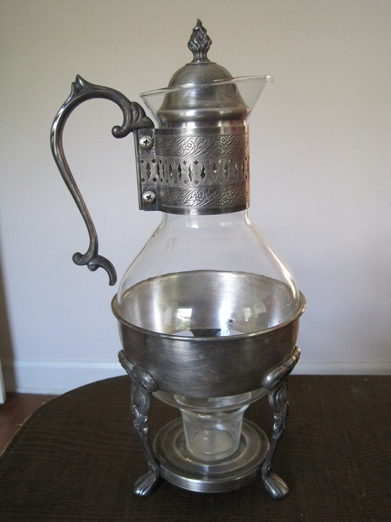 Corning Coffee Warmer Carafe With Silver Stand