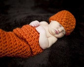 Chunky Newborn Cocoon and Hat Set in Pumpkin Orange