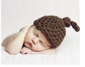Little Mister Newborn Knot Hat in Brown