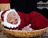 Newborn Santa Cocoon Photo Prop Red White
