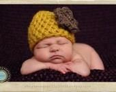 Newborn Beanie Cloche Flower Hat Yellow Citron Brown
