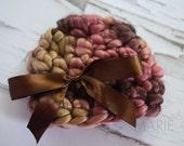 Chunky Chocolate Cherry Newborn Ribbon Hat