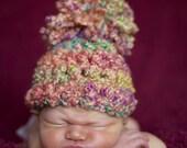 Rainbow Pom Hat in Peach Blue Green Yellow Pink