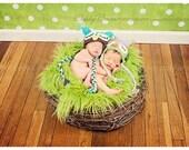 TWIN SET Lime Faux Fur, Wood Branch Nest, Owl Nest, Bird Nest, Newborn Nest, Newborn Photography, Photo Prop