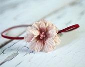 Pink Maroon Flower Bead Headband OOAK