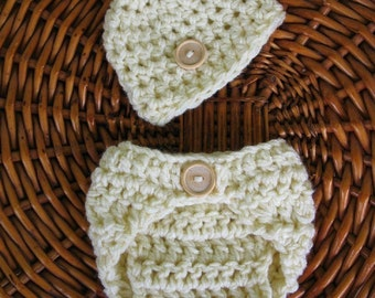 Diaper Cover and Hat Set in Natural