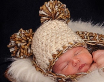 Mother Earth Newborn Pom Pom Beanie Hat