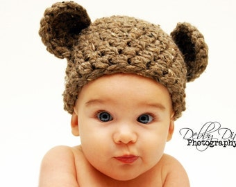 Handmade Newborn Teddy Bear Hat in Brown