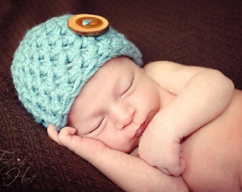 Little Mister Newborn Baby Beanie Hat Blue