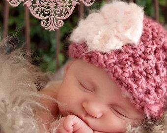 Little Miss Newborn Baby Beanie Hat in Pink