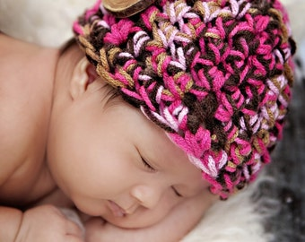 Little Miss Newborn Beanie Hat in Pinks Browns