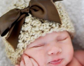 Little Miss Newborn Baby Beanie Hat in Rococco Beige