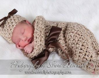 Newborn Cocoon and Hat Set in Rococco Beige