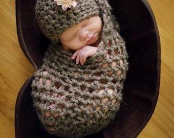 Chunky Newborn Cocoon Hat Set in Brown Barley