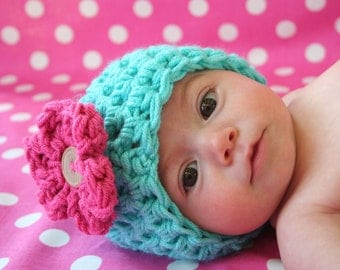 Little Miss Newborn Baby Beanie Hat Aqua Pink