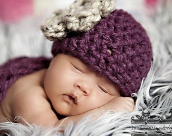 Newborn Baby Beanie Cloche Flower Hat Purple Beige