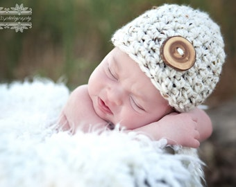 Little Mister Newborn Baby Beanie Hat in Oatmeal