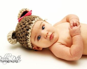 Little Miss Baby Bear Newborn Teddy Hat in Brown