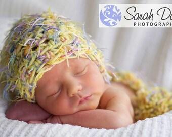Newborn Pixie Elf Hat Photo Prop in Yellow Blue Pink
